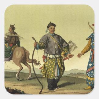 Soldados de las banderas del Mongolian ocho del Pegatina Cuadrada