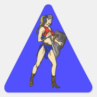 Soldados de las mujeres del Amazonas Pegatina Triangular