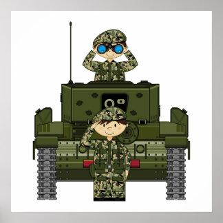 Soldados del ejército británico e impresión del ta póster