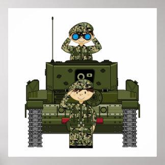 Soldados del ejército británico y poster del tanqu