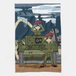 Soldados del ejército británico y toalla de la esc