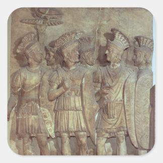Soldados del guardia pretoriano alivio colcomania cuadrada
