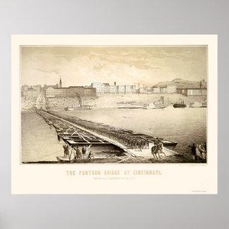 Soldados en un puente pontón 1864 de Cincinnati Póster