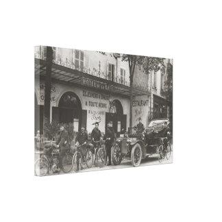 Soldados franceses, coche, moto impresiones en lona estiradas