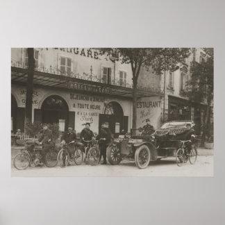 Soldados franceses, coche, moto póster