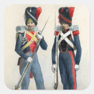 Soldados franceses del siglo XIX Calcomanía Cuadradas Personalizadas