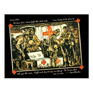 Soldados heridos de WWI en el camión de la Cruz Tarjeta Postal