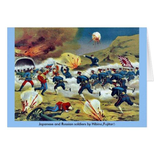 Soldados japoneses y rusos por Hibino, Fujitarō Tarjetas