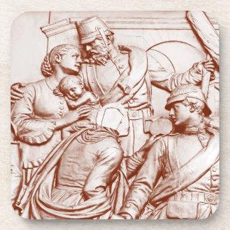 Soldados, mujer y bebé prusianos, tinte de Brown Posavasos De Bebida