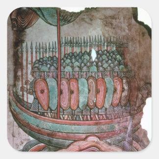 Soldados normandos que cruzan el canal inglés calcomania cuadradas
