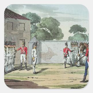 Soldados que perforan, 1807 pegatina cuadrada