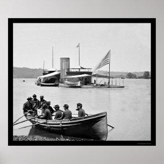 Soldados que reman a USS del monitor al Onondaga 1 Poster