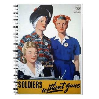 Soldados sin el poster del vintage de los armas libro de apuntes