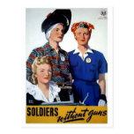 Soldados sin el poster del vintage de los armas tarjetas postales