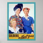 Soldados sin la guerra mundial del vintage del ~ d posters