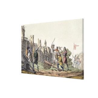Soldados y artillería del siglo XV, placa Impresion En Lona