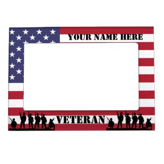 Soldados y bandera americanos patrióticos de veter marcos magnéticos