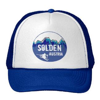 Solden Austria blue ski art blue hat