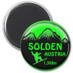 Solden Austria green snowboard art magnet