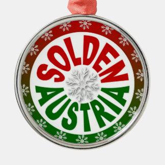 Solden Austria red green ornament