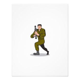 Soldier Aiming Sub-Machine Gun Cartoon Custom Invite