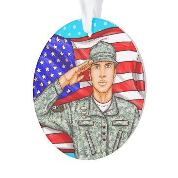 Soldier and American Flag - Appreciation Ornament