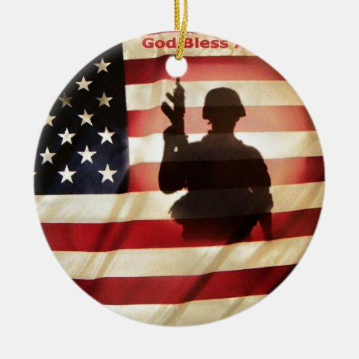 Soldier and american flag christmas tree ornament zazzle
