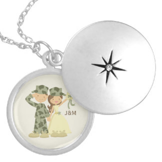 Soldier and Bride Military Wedding Pendants
