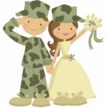 "Soldier and Bride Wedding Cake Topper Statuette<br><div class=""desc"">JW Designs</div>"
