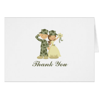 Soldier and Bride Wedding Folded Thank You Notes