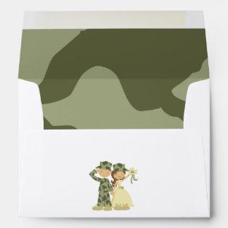 Soldier and Bride Wedding Invitation Envelopes