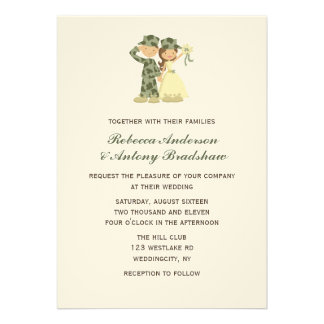 Soldier and Bride Wedding Invitations