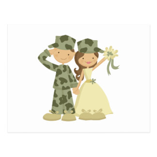 Soldier and Bride Wedding Response Cards Postcard