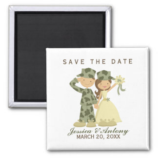 Soldier and Bride Wedding Save the Date Magnets