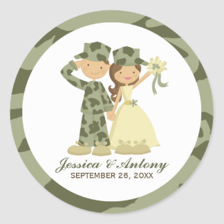 Soldier and Bride Wedding Stickers
