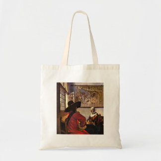 Soldier and girl smiling by Johannes Vermeer Bag