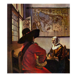 Soldier and girl smiling by Johannes Vermeer Poster