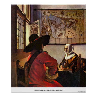 Soldier and girl smiling by Johannes Vermeer Posters