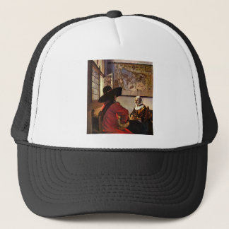 Soldier and girl smiling by Johannes Vermeer Trucker Hat