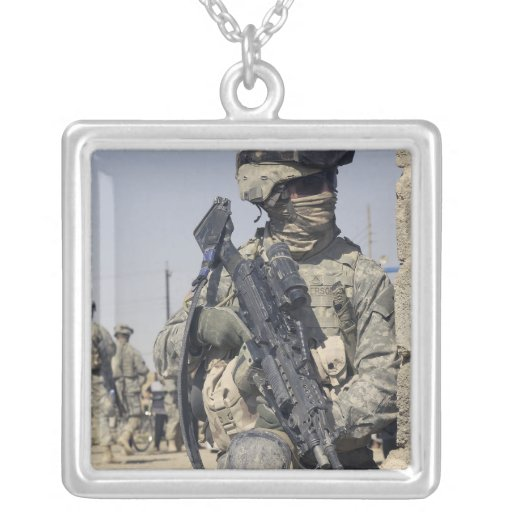 Soldier armed with a MK-48 Custom Necklace
