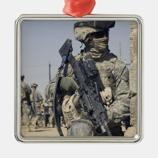 Soldier armed with a MK-48 Metal Ornament