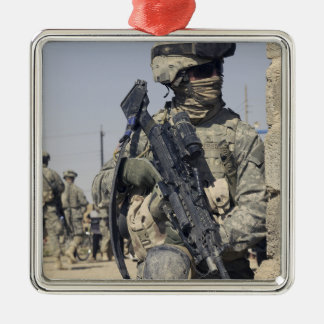 Soldier armed with a MK-48 Square Metal Christmas Ornament
