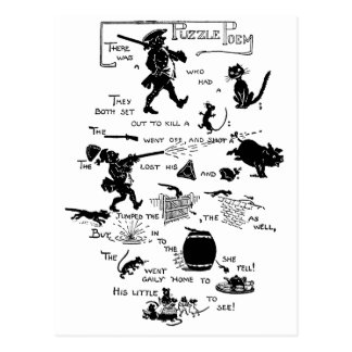 Soldier, Cat and Rat Rebus Poem Postcard