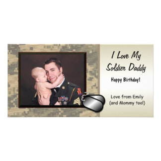 Soldier Daddy Birthday Custom Personalized Card