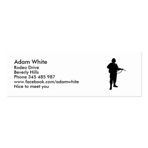 Soldier Double-Sided Mini Business Cards (Pack Of 20)