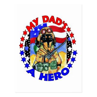 Soldier Doxie Dad Postcard