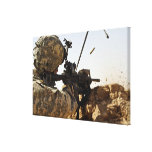 soldier engages enemy forces canvas print