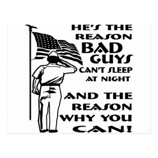 Soldier & Flag The Reason You Can Sleep At Night Postcard