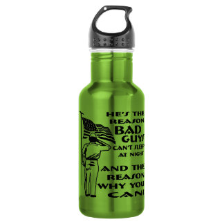 Soldier & Flag The Reason You Can Sleep At Night Stainless Steel Water Bottle