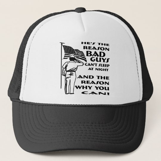 Soldier & Flag The Reason You Can Sleep At Night Trucker Hat